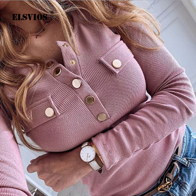 2020 New Elegant Metal Button Shirts Blouse Women Solid Autumn Long Sleeve Ribbed Tops Female Sexy V-Neck Slim Pullovers Blusas