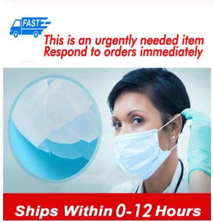 100pcs Non Woven Meltblown Cloth Disposable Face Mask 3 Layers Earloop Face Earloops Masks Anti-dust Virus Safe Masks Fast Send