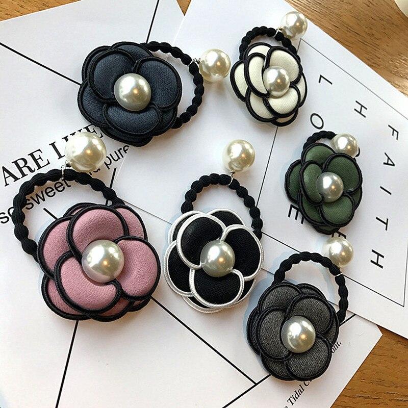 Корейская простая цветочная ткань камелии искусство имитация жемчуга эластичные ободки для девочек женские модные головные уборы аксессуары для волос