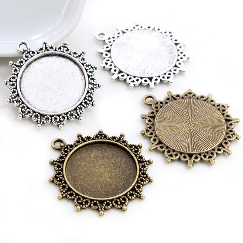 New Fashion 5pcs 25mm Inner Size Antique Bronze Silver Plated Pattern Cameo Cabochon Base Setting Charms  Pendant