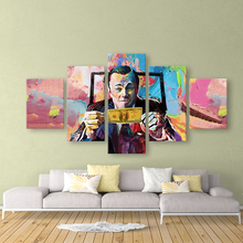 Graffiti Canvas Paintings movie The Wolf of Wall Street Leonardo DiCaprio Posters 5 pieces Print Wall Art Living Room Home Decor wall art wolf howl print canvas paintings