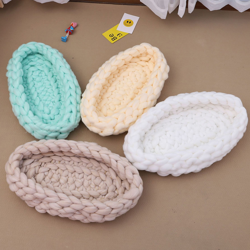 Petshy Nordic Pet Cat Bed House Knitted Handmade Solid Color Puppy Small Dog Kitten Sleeping Pad Cushion Sofa Cats Nest House