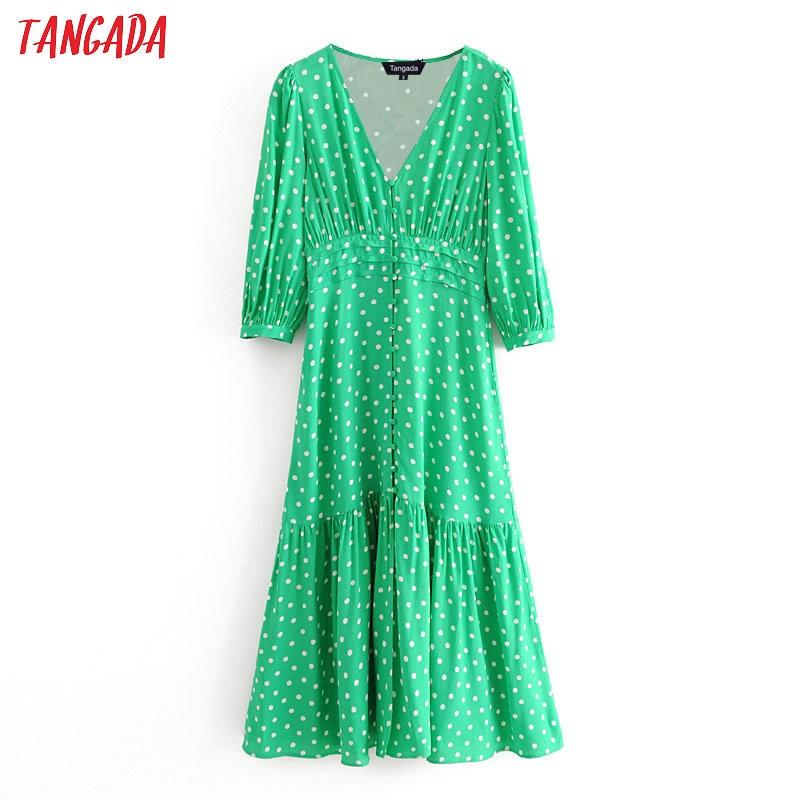 Tangada Fashion Women Green Dots Print Midi Dress Puff Long Sleeve Ladies Vintage Summer Dress Vestidos 3H395