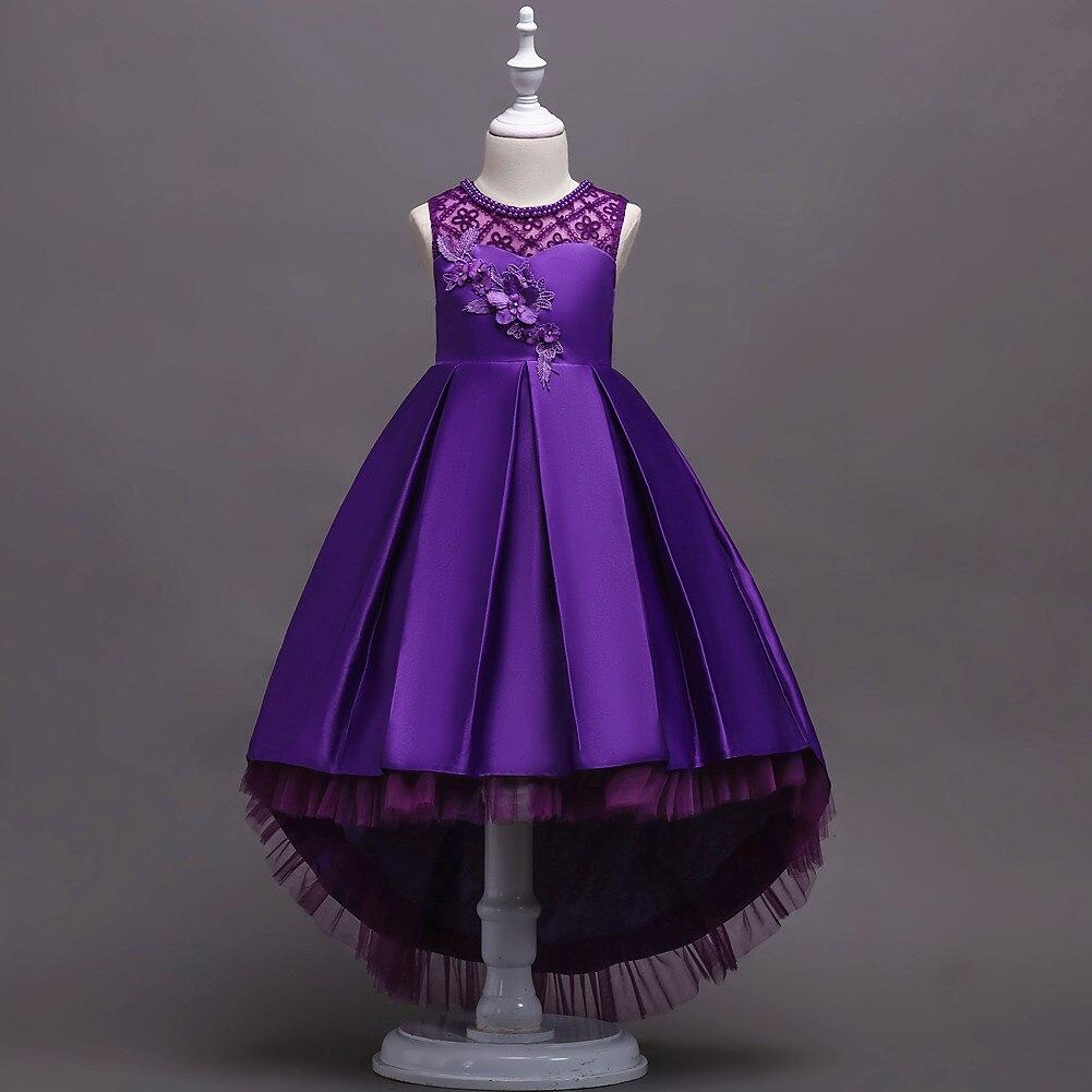 Childrenswear GIRL'S Flower Princess Dress Girls Lace Tailing Dress Children Performance Dress 580