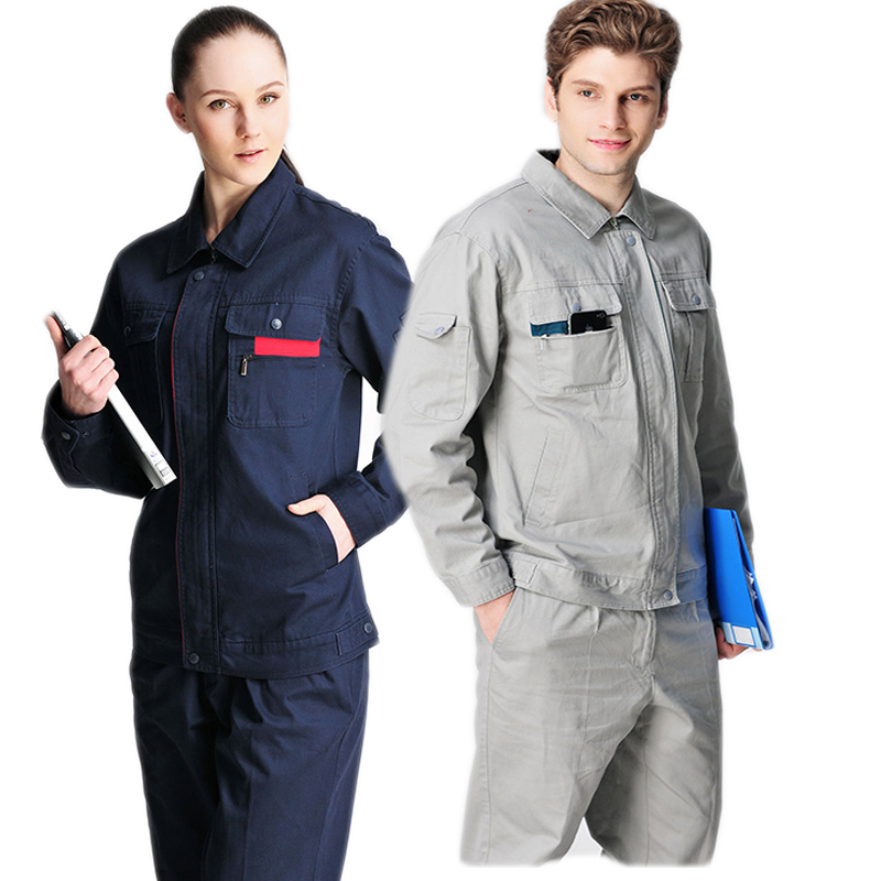 Spring Autumn 100% Cotton Work Clothes Welding Suit Labor Mechanical Uniforms Workshop Auto Repair Factory Engineering Coveralls