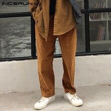INCERUN Men Pure Color Corduroy Casual Pants Fashion Joker Mens Stretch Elastic Trousers Joggers Streetwear Baggy Sweatpants