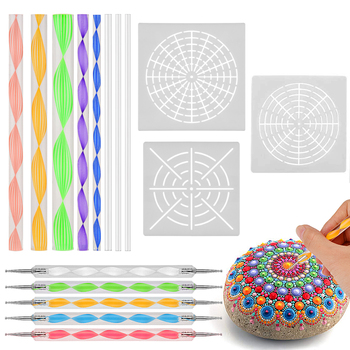 16pcs/set Mandala Dotting Tools Painting Stencils DIY Stone Embossing Starter Drawing Stylus Pens Art Kit 7