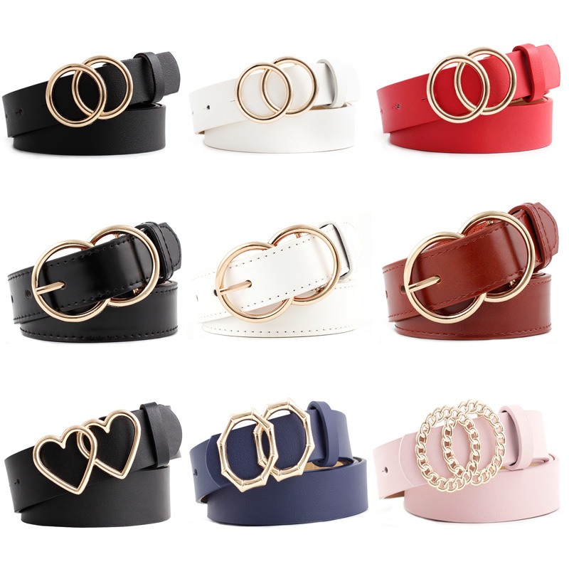 42 Styles Latest Fashion Double Round Ladies Belt PU Alloy Buckle Wild Women Waistbelt Beautiful Female Dress Decorative Belts