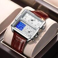 LIGE-reloj analógico de cuarzo para hombre, accesorio de pulsera resistente al agua con cronómetro, complemento Masculino deportivo de marca de lujo con diseño cuadrado Digital, 2021