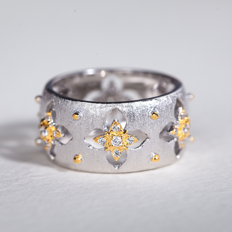Europe amérique italie artisanat dentelle anneau Palace S925 argent plaqué anneaux Zircon évider rétro élégant femmes anneau