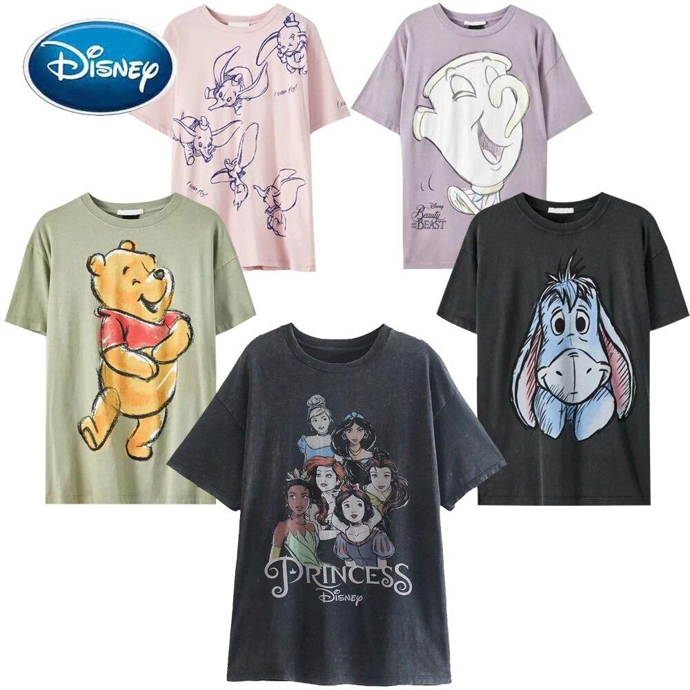 Disney T-Shirt Mickey Mouse Winnie the Pooh Bear Bambi Peter Pan Fairies Daisy Duck Dumbo Cartoon Print Women Cotton Tee Tops