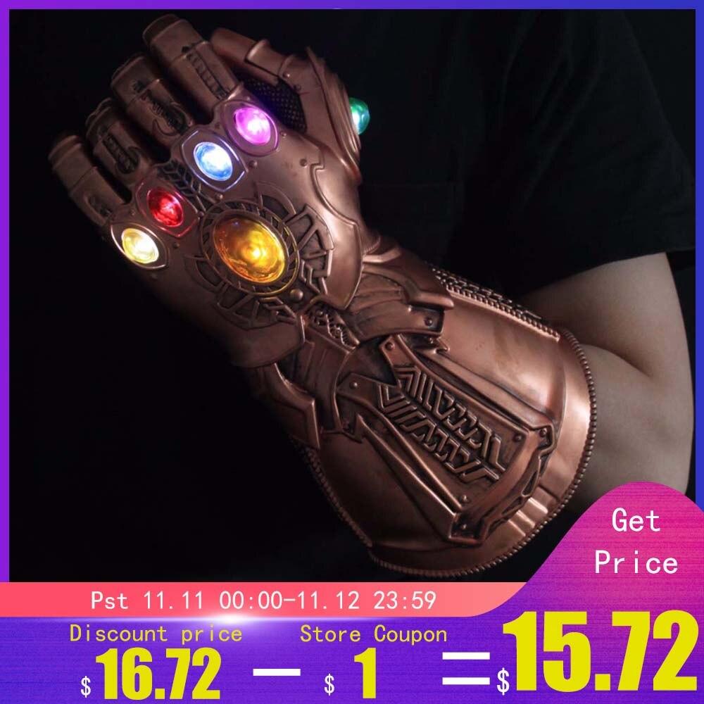 Lumière LED Thanos infini gantelet Avengers infini guerre Cosplay gants LED PVC figurine modèle jouets cadeau Halloween accessoires