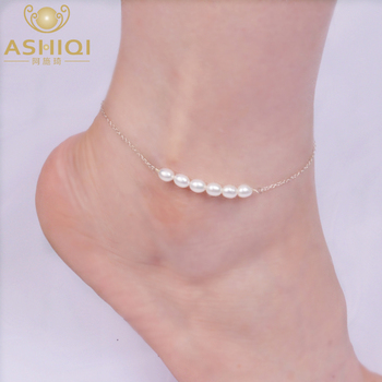ASHIQI Real 925 Sterling Silver Anklets for Women with Natural Freshwater Pearl Foot Jewelry Gift