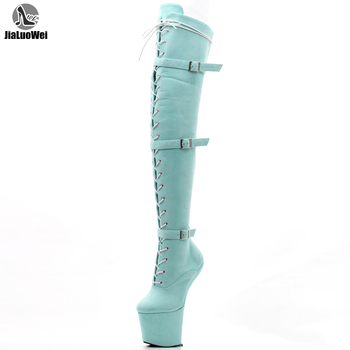 Ultra High 20Cm No Heel Boots Long Thigh High Boots Sexy Fetish Shoes Ladies Boots Thick Platform Long Boots hot selling denim lace flower hollow out over the knee long boots thigh high stiletto heel boots platform high quality shoes