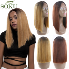 Ombre Blonde Red Synthetic Lace Front Wigs For Black Women SOKU 14Inch Yaki Stra