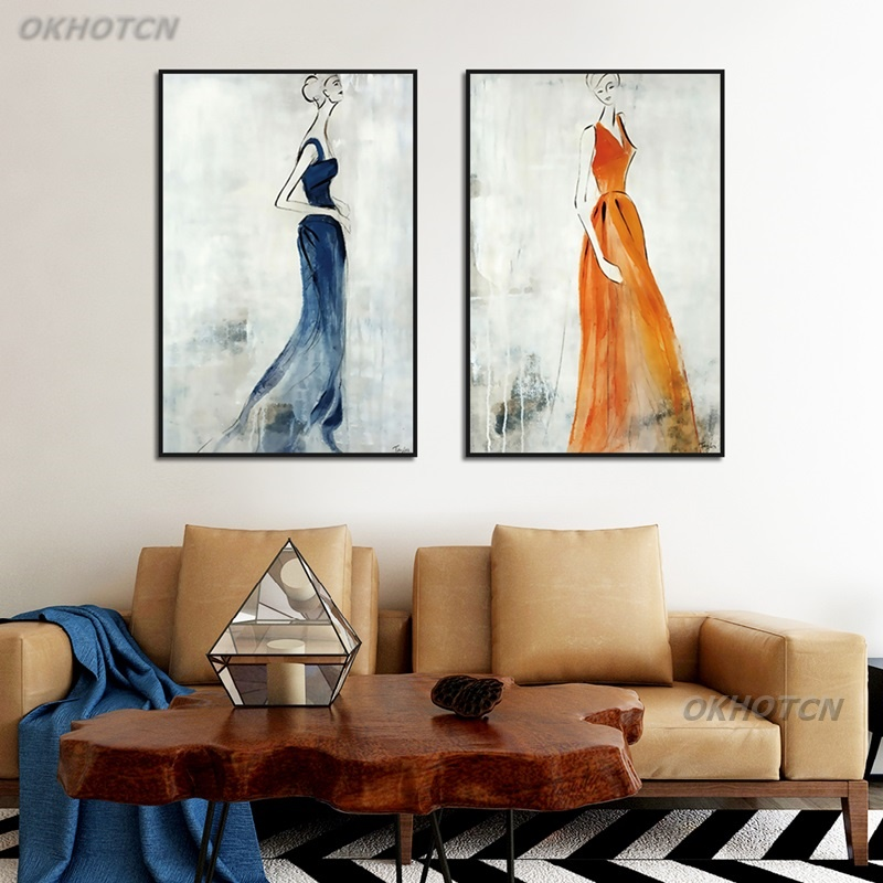 Nordic Modern Minimalism Abstract Woman Canvas Painting Creative Mood Poster And Print Wall Art Picture Living Room Home Decor