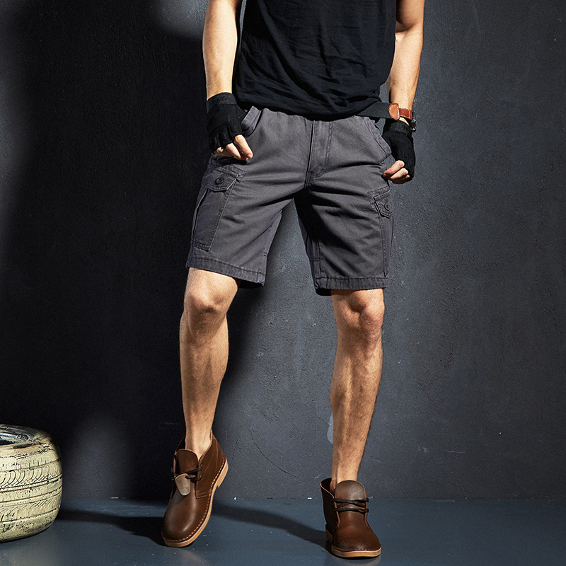 Summer Men's Outdoor Solid Color Short 5 Shorts Fashion Multi-pockets Workwear Beach Shorts 630 #
