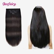 Gazfairy шелковистая прямая клип INS 100% реальная Реми наращивание волос 20