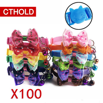 CTHOLD 100pcs/lot Cute Pets Adjustable Polyester Dog Collars Puppy Pet Collars with Bowknot Bells Necklace Collar For Dogs back