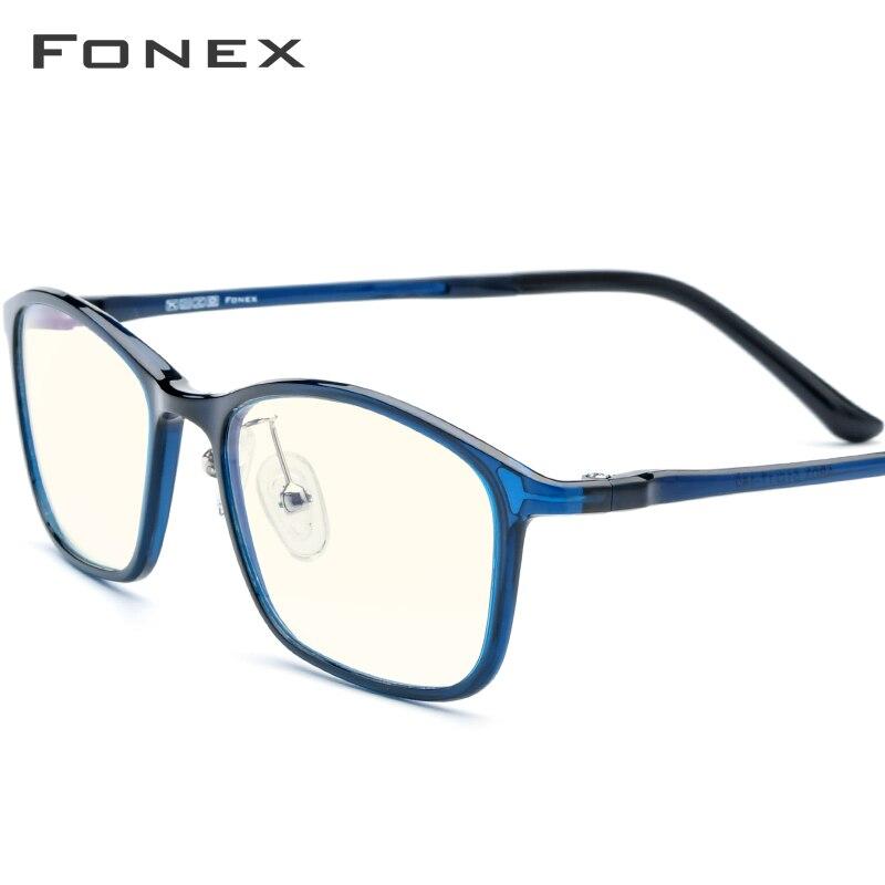 FONEX Ultem TR90 Anti Blue Light Glasses Men Protection Eyewear Spectacles Antiblue Rays Gaming Computer Eyeglasses Women AB03