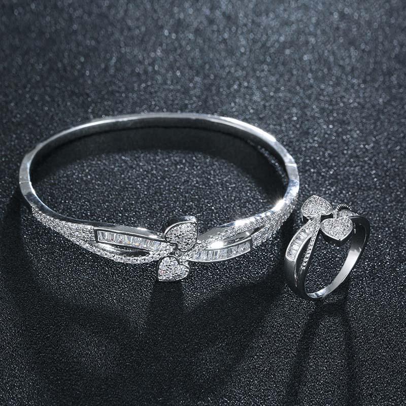 HONGHONG Women's plant leaf bracelet ring two piece set high quality 3A zircon heart 2pcs set temperament fashion jewelry