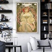Art féerique nouvelles peintures célèbres d'alphonse Mucha, affiches et imprimés d'art en toile, images d'art Mucha pour décoration murale de salon