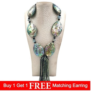 Lily Jewelry Huge Abalone Shell Black Spinels Hematite Handmade Knitting Fancy Tassel Necklace For Women Fashion  Jewelry