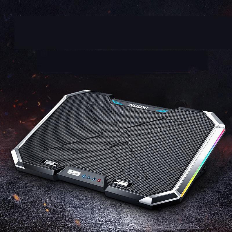 SeenDa Q8 refroidisseur pour ordinateur portable Pad 6 ventilateurs 7 niveaux support d'ordinateur portable réglable écran à cristaux liquides 2 Ports USB refroidisseur