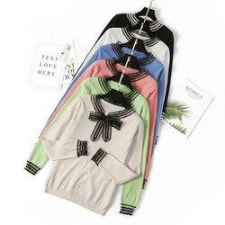 HLBCBG женские вязаные пуловеры, Элегантный Бант, жемчужные пуговицы, офисные топы, трикотаж с длинными рукавами, Осенний кружевной вязаный те...