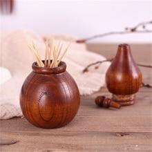 Креативная деревянная зубочистка в форме тыквы, держатель, винтажные аксессуары для дома, ручная работа, китайский стиль, деревянная коробка для зубочистки
