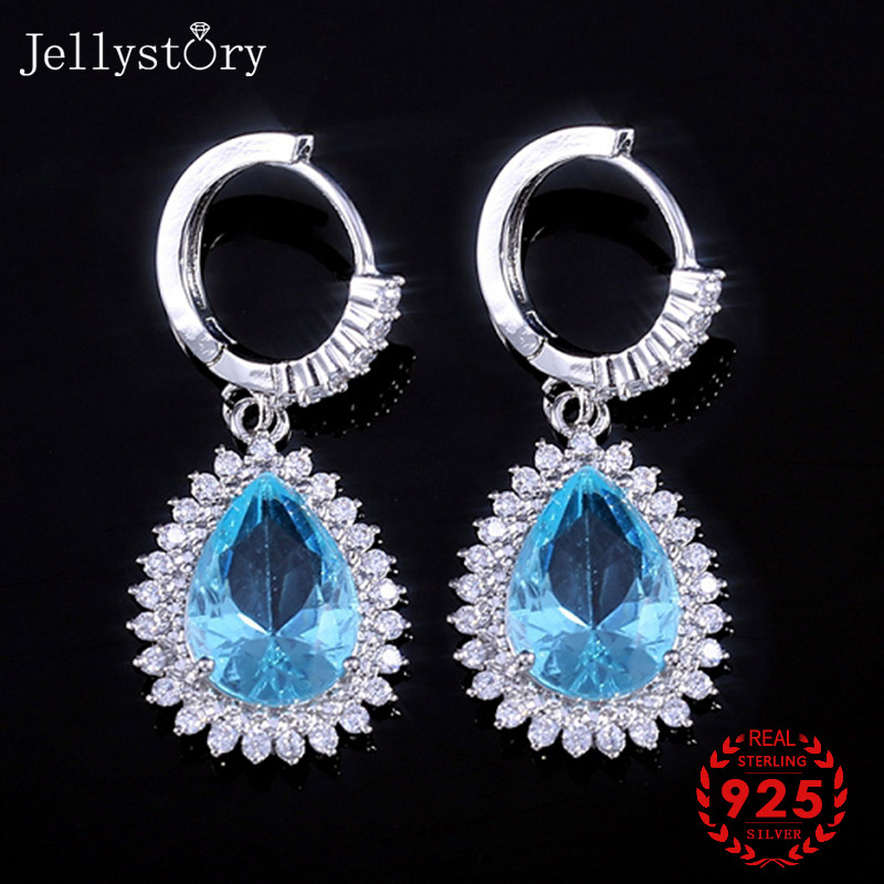 Jellystory Fashion 925 Silver Jewellery Earrings With Water Drop Shaped Sapphire Gemstones Earring For Women Wedding Party Gifts