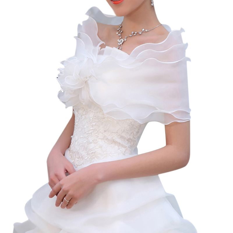 White Elegant Flower Multi Layer Tulle Shawl Wedding Wrap Bridal Chiffon Short Coat Fairy Marriage Accessories