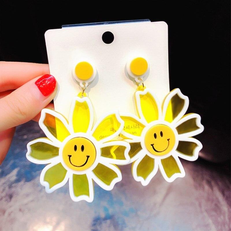 EK715 New Design Trendy Acrylic Earrings Big Flowers Drop Earrings For Women Korean Creative Sweet Smile Face Earrings Jewelry