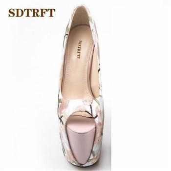 SDTRFT nuevo elegante bordado 22cm Ultra alta delgada tacones mujeres boca baja zapatos de boda zapatos de mujer Eur 34-42 43