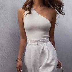 Mulheres esportes tank topos sexy colheita tops colete casual feminino um ombro roupas de verão topos fitness elástico