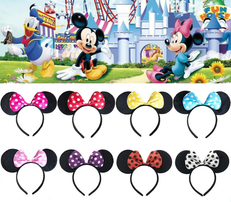 Disney Mickey Mouse bowknot Minnie hairband ear tiara bow tie three-piece tail set Children Ball Dress Up Show Christmas image
