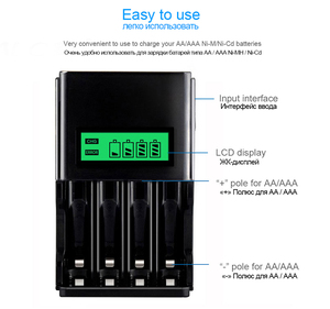 Image 4 - PALO 4 sloty wyświetlacz LCD inteligentna ładowarka do akumulatora do 1.2V AA akumulator aaa NI MH NI CD bateria z wtyczką ue AU US UK
