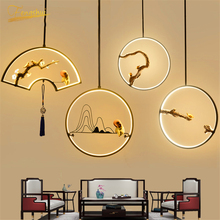 Chinese Style LED Pendant Lamp Fixtures Retro Golden Gloss Pendant Lights Lighting for Attic Hotel Home Indoor Deco Hanging Lamp