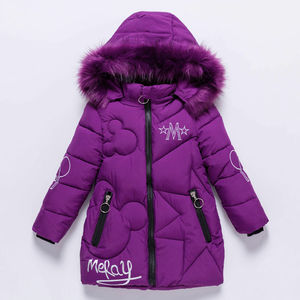 Image 1 - Girls Winter Jacket Childrens Thick Warm Coat Kids Hooded Coats Baby Thick Parka Bunny Decoration Winter Clothing  Outerwear