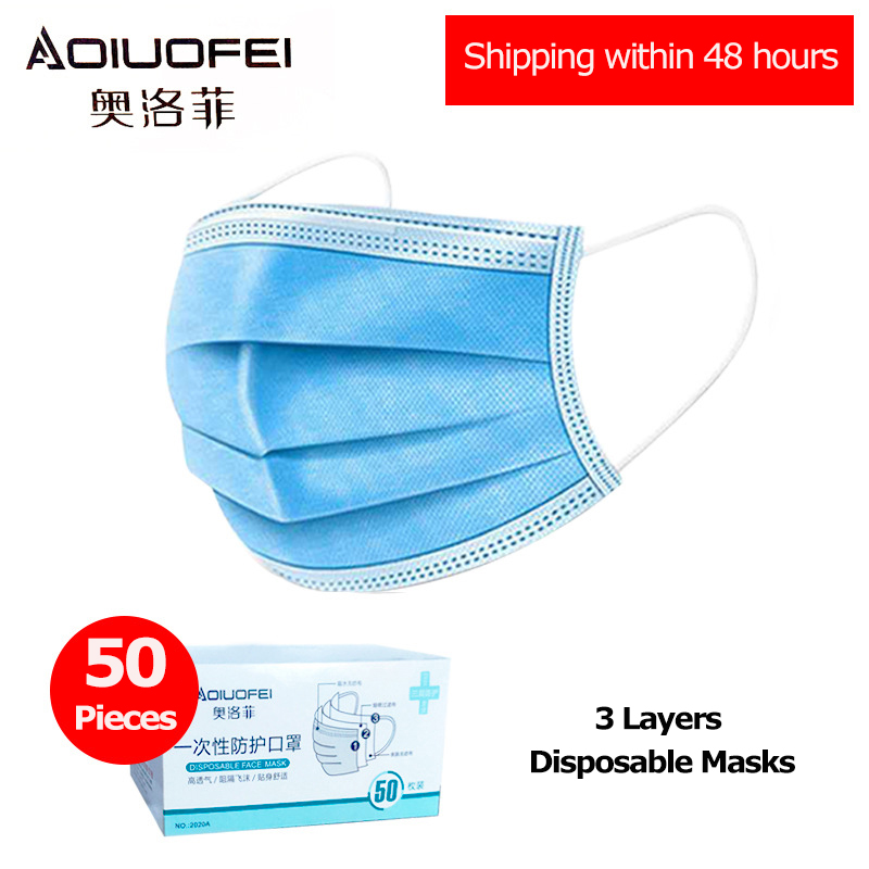 50pcs Face Masks Adult Mouth Caps 3ply Mask Disposable Face Mouth Mask Protective Respirator Anti Dust Personal Health Care