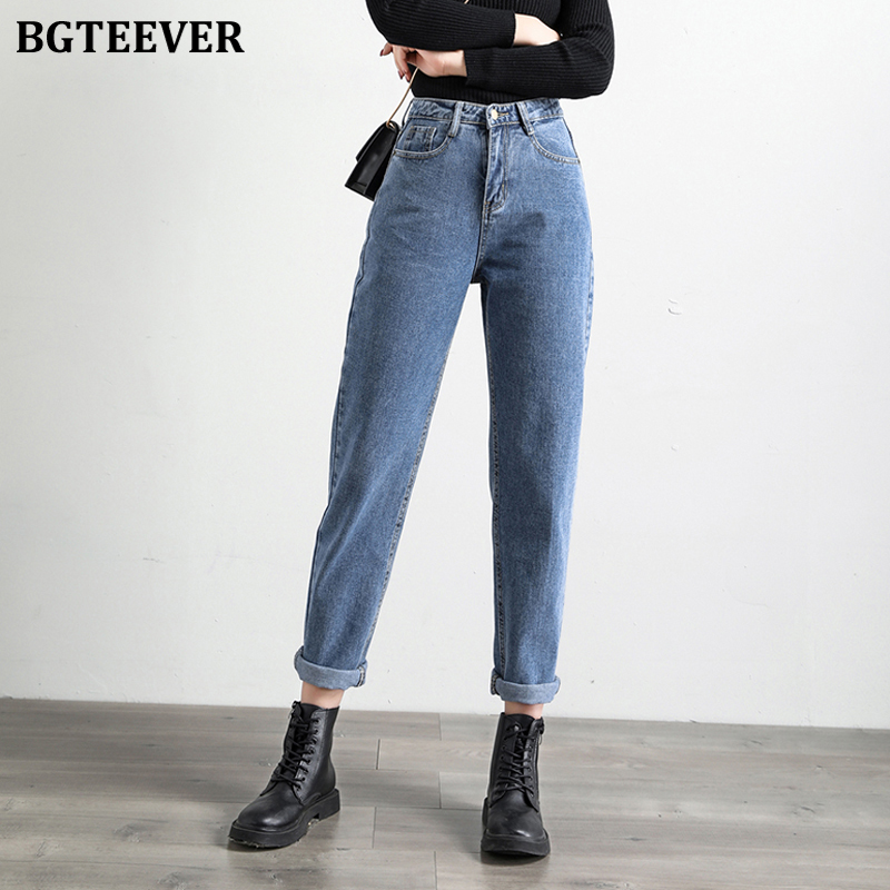 BGTEEVER 2020 Spring Women Blue Jeans Pants High Waist Loose Denim Jeans Female Trousers Casual Solid Harem Jeans Femme