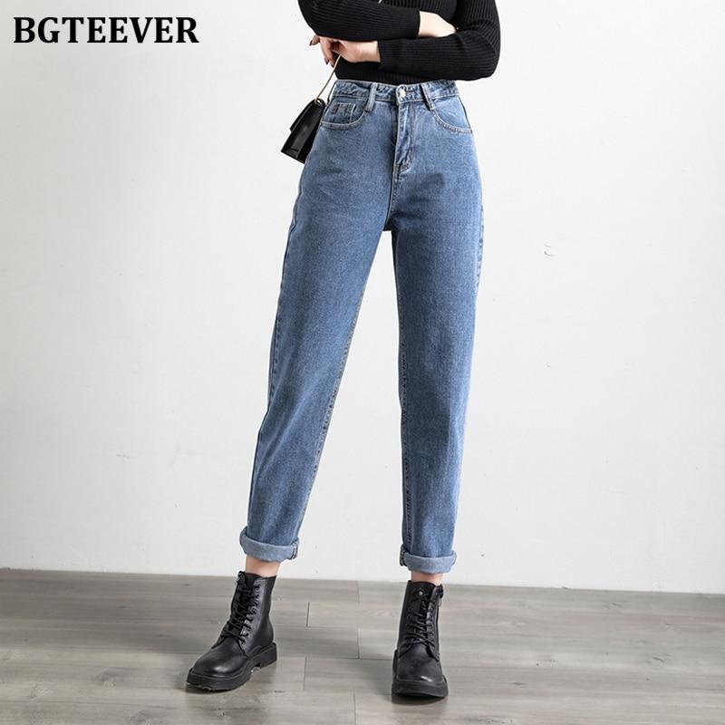 BGTEEVER 2020 Spring Women Blue Jeans Pants High Waist Loose Denim Jeans Female Trousers Casual Solid Harem Jeans Femme
