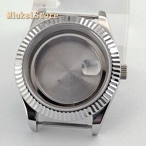 Image 3 - Parnis 41mm szafirowe szkło srebrny zegarek case fit ETA 2836, Miyota 8205 8215 82 seria Mingzhu DG2813 3804 ruch