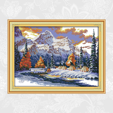 The Snow of Winter Paintings Handwork Beginner Embroidery Sets Aida Canvas Cross-stitch 11CT 14CT Wholesale Needlework