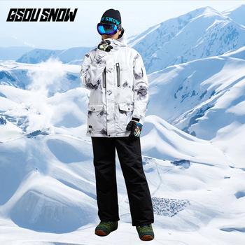 GSOU SNOW kurtka snowboardowa wodoodporna mężczyźni narciarstwo górskie kurtka snowboardowa zimowa odzież sportowa na zewnątrz ciepły płaszcz tanie i dobre opinie Poliester Jazda na snowboardzie Kurtki Pasuje prawda na wymiar weź swój normalny rozmiar Anty-pilling Anti-shrink Przeciwzmarszczkowy