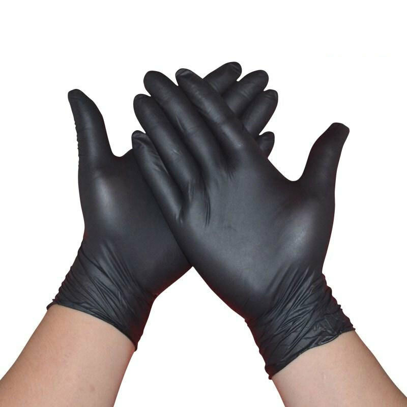 50PCS/100PCS Comfortable Rubber Disposable Mechanic Nitrile Gloves Black Medical Exam Laboratory Doctor Gloves Tattoo