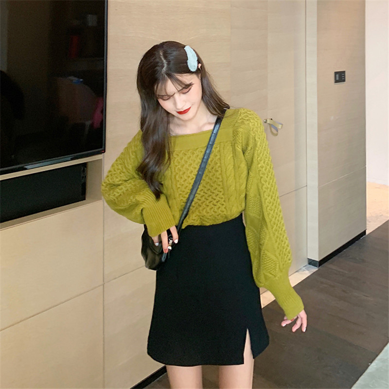 Focal20 Streetwear Square Collar Solid Women Sweater Jumper Lantern Sleeve Female Pullovers Tops Spring Autumn Lady Sweaters