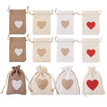 Wholesale Burlap Packing Pouches Drawstring Bags Jewelry Gift Display Packaging Bags Christmas Party Wedding Jewelry Pouch
