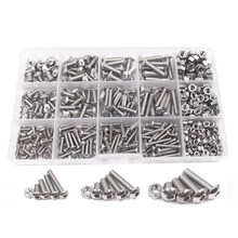 цена 500pcs M3 M4 M5 A2 Stainless Steel ISO7380 Button Head Hex Bolts Hexagon Socket Screws With Nuts Assortment Kit онлайн в 2017 году
