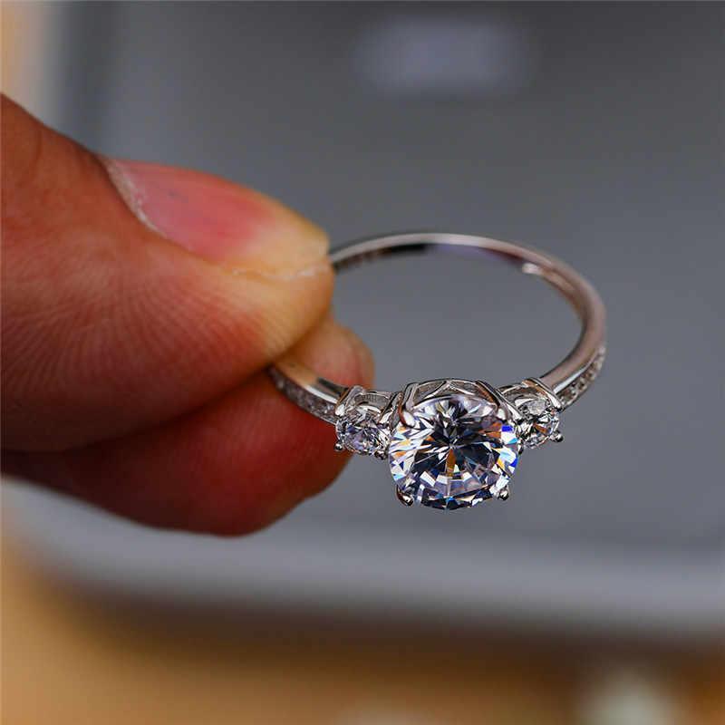 Блестящие дамы 3 шт. Круглый Циркон простое кольцо на палец Стерлинговое серебро обручальное кольцо элегантное любовное обещание вечерние кольца для женщин